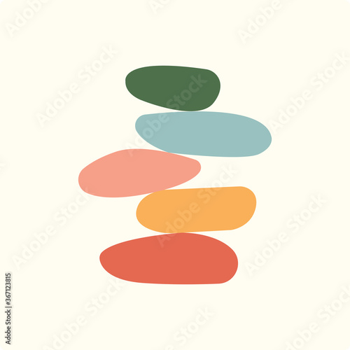 Photo Vector Illustration of balance made of colored stones