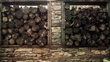 An Old Woodshed And Firewood At Ancient Cumalikizik Village In Turkey