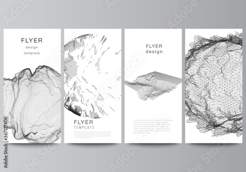 Fototapeta Vector layout of flyer, banner templates for website advertising design, vertical flyer design, website decoration. Abstract 3d digital backgrounds for futuristic minimal technology concept design. obraz