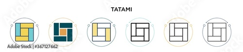 Photo Tatami icon in filled, thin line, outline and stroke style