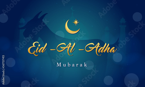 Eid Al Adha Mubarak background Vector illustration, Goat on dark blue bokeh background. - 367137413