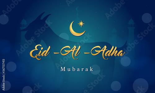 Eid Al Adha Mubarak background Vector illustration, Goat on dark blue bokeh background.