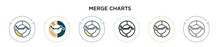 Merge Charts Icon In Filled, Thin Line, Outline And Stroke Style. Vector Illustration Of Two Colored And Black Merge Charts Vector Icons Designs Can Be Used For Mobile, Ui, Web