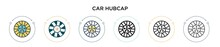 Car Hubcap Icon In Filled, Thi...
