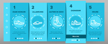 Shoes Footwear Shop Onboarding Mobile App Page Screen Vector. Different Shoes Sneaker And Moccasin, Slippers And Boots, Toe And Loafer Illustrations