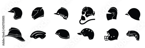 Vászonkép Collection of helmet icon isolated on white background