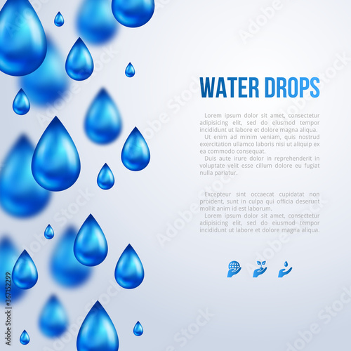 Fototapeta Water Drops Vertical Border with place for text. Vector illustration. Rainy day, blurred rain. Fresh template for card design. Pure organic water. Mountain mineral rich water. Spring water. obraz