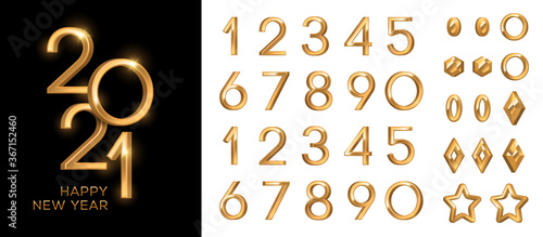3d gold numbers set in vintage style Fototapete