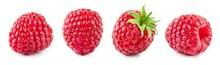 Raspberry Isolated. Raspberries With Leaf Isolate. Raspberry With Leaf Isolated On White. Side View Raspberries Set.