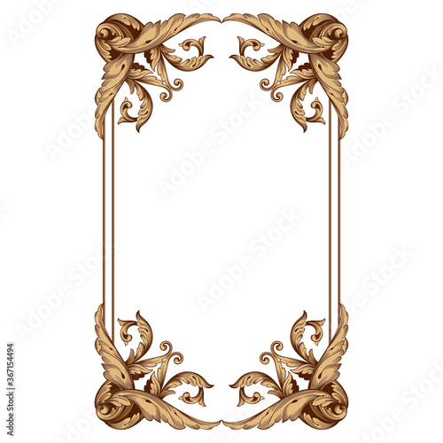 Obraz na plátne Vintage Ornament Element in baroque style with filigree and floral engrave the best situated for create frame, border, banner