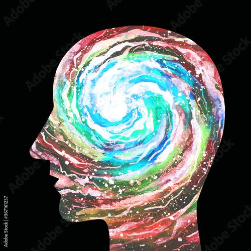 Dipinto acquerello una persona intelligente Tableau sur Toile