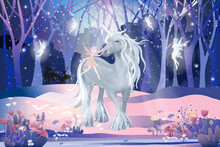 Fantasy Cute Cartoon Of Little Fairies Flying And Playing With White Unicorn In Magic Forest, Christmas Night, Vector Illustration Landscape Of Winter Wonderland.