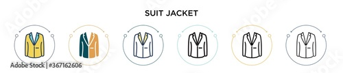 Fotografering Suit jacket icon in filled, thin line, outline and stroke style