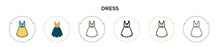 Dress Icon In Filled, Thin Line, Outline And Stroke Style. Vector Illustration Of Two Colored And Black Dress Vector Icons Designs Can Be Used For Mobile, Ui, Web