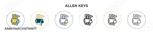 Allen keys icon in filled, thin line, outline and stroke style Wallpaper Mural
