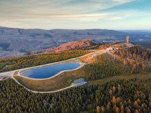 Aerial Landscape Panorama Of Mount Wurmberg Near Braunlage In The Harz Mountains, Lower Saxony, Germany.