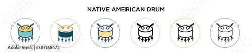 Fotografie, Obraz Native american drum icon in filled, thin line, outline and stroke style