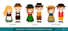 Germany, Austria, Switzerland. Set Of European People Wearing Ethnic Traditional Costume. Men And Women In National Dress. Isolated Cartoon Characters. Western Europe. Vector Flat Illustration.