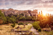 Landscape of Athens, Ancient Agora overlooking Acropolis hill at sunset, Greece