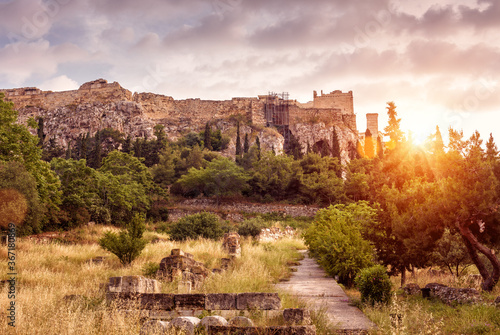 Landscape of Athens, Ancient Agora overlooking Acropolis hill at sunset, Greece - 367180869