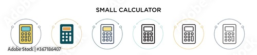 Fototapeta Small calculator icon in filled, thin line, outline and stroke style. Vector illustration of two colored and black small calculator vector icons designs can be used for mobile, ui, web obraz