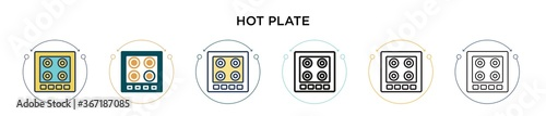 Fototapeta Hot plate icon in filled, thin line, outline and stroke style. Vector illustration of two colored and black hot plate vector icons designs can be used for mobile, ui, web obraz