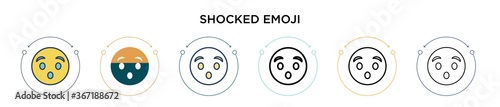 Fotografija Shocked emoji icon in filled, thin line, outline and stroke style