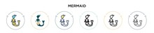 Mermaid Icon In Filled, Thin Line, Outline And Stroke Style. Vector Illustration Of Two Colored And Black Mermaid Vector Icons Designs Can Be Used For Mobile, Ui, Web