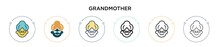 Grandmother Icon In Filled, Thin Line, Outline And Stroke Style. Vector Illustration Of Two Colored And Black Grandmother Vector Icons Designs Can Be Used For Mobile, Ui, Web