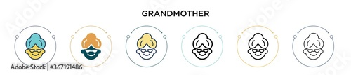 Fotografia, Obraz Grandmother icon in filled, thin line, outline and stroke style
