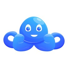 Bath Octopus Toy Icon. Cartoon Of Bath Octopus Toy Vector Icon For Web Design Isolated On White Background