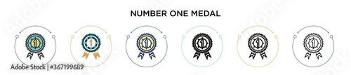 Photo Number one medal icon in filled, thin line, outline and stroke style