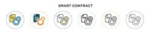 Smart Contract Icon In Filled, Thin Line, Outline And Stroke Style. Vector Illustration Of Two Colored And Black Smart Contract Vector Icons Designs Can Be Used For Mobile, Ui, Web