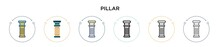 Pillar Icon In Filled, Thin Line, Outline And Stroke Style. Vector Illustration Of Two Colored And Black Pillar Vector Icons Designs Can Be Used For Mobile, Ui, Web
