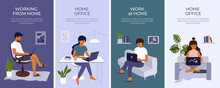 Set Of Banners With Young Woman And Man Working Or Studying At Home Using Laptop. Student Girl Or Freelancer Sitting Behind Table. Cozy Workplace On Sofa, Home Office In Apartment. Vector Illustration