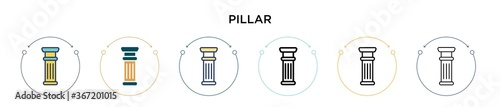 Obraz Pillar icon in filled, thin line, outline and stroke style. Vector illustration of two colored and black pillar vector icons designs can be used for mobile, ui, web - fototapety do salonu