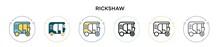 Rickshaw Icon In Filled, Thin ...
