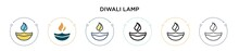 Diwali Lamp Icon In Filled, Th...