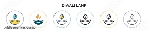 Photo Diwali lamp icon in filled, thin line, outline and stroke style