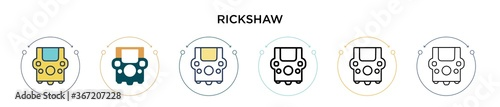 Rickshaw icon in filled, thin line, outline and stroke style Fototapet