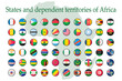 A set of African flag icons on a white background. Vector image of flags of States and dependent territories of Africa. You can use it to create a website, print brochures, booklets, flyers.