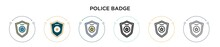 Police Badge Icon In Filled, Thin Line, Outline And Stroke Style. Vector Illustration Of Two Colored And Black Police Badge Vector Icons Designs Can Be Used For Mobile, Ui, Web
