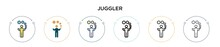 Juggler Icon In Filled, Thin Line, Outline And Stroke Style. Vector Illustration Of Two Colored And Black Juggler Vector Icons Designs Can Be Used For Mobile, Ui, Web