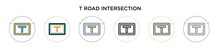 T Road Intersection Icon In Filled, Thin Line, Outline And Stroke Style. Vector Illustration Of Two Colored And Black T Road Intersection Vector Icons Designs Can Be Used For Mobile, Ui, Web