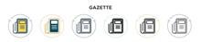 Gazette Icon In Filled, Thin L...