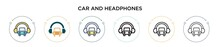 Car And Headphones Icon In Fil...