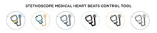 Stethoscope Medical Heart Beats Control Tool Icon In Filled, Thin Line, Outline And Stroke Style. Vector Illustration Of Two Colored And Black Stethoscope Medical Heart Beats Control Tool Vector Icons