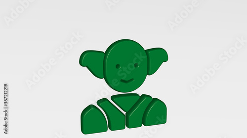 Fotografie, Obraz famous character yoda made by 3D illustration of a shiny metallic sculpture with the shadow on light background