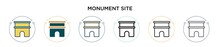 Monument Site Icon In Filled, Thin Line, Outline And Stroke Style. Vector Illustration Of Two Colored And Black Monument Site Vector Icons Designs Can Be Used For Mobile, Ui, Web