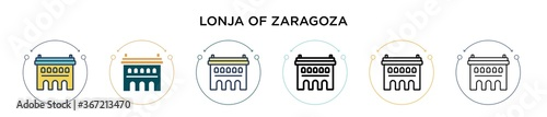 Obraz Lonja of zaragoza icon in filled, thin line, outline and stroke style. Vector illustration of two colored and black lonja of zaragoza vector icons designs can be used for mobile, ui, web - fototapety do salonu